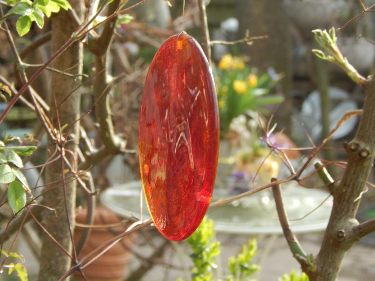 Glasscheiben, handgefertigt versch Farben : rot